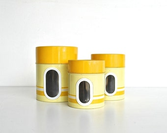 Yellow Nesting Kitchen Canister Set - Metal Canisters