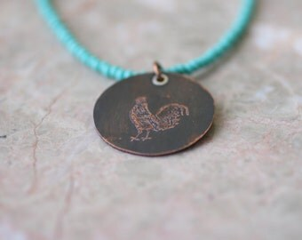 Etched Copper Rooster Pendant, Seed Bead Necklace