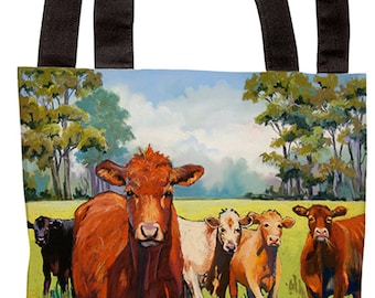 Tote Bag_Cowgirl_tote_bag_accessory_painting_farm_cow_fence_brown_dairy_field_pastel_ranch