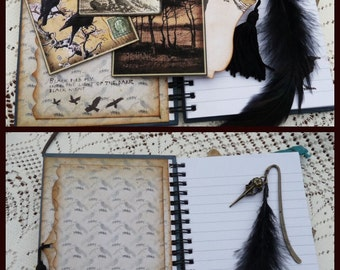 Altered notebook The Raven, journal,notebook,poetry book,