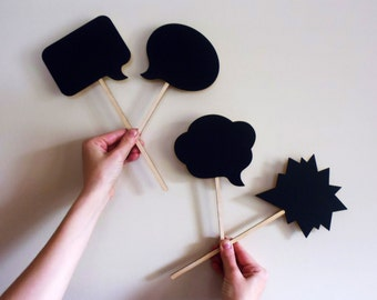 Chalkboard Photo Booth Props Speech Bubbles on a Stick Set of 4 Conversation Bubbles Chalk Board for Wedding or Engagement Photos