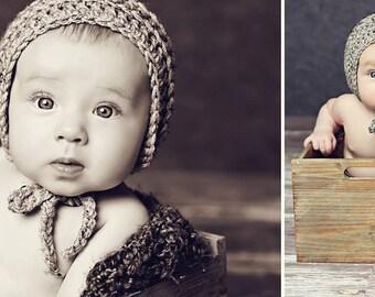 Baby Boys Hat / Newborn Boys Bonnet / Crochet Baby Bonnet / Knit Baby Hat / Knit Baby Bonnet /  Newborn Knit Photo Props / Custom Colors