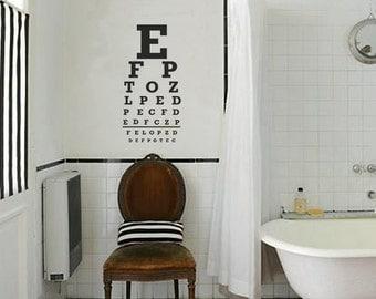 Eye Chart, Vinyl Wall Decal, Home Decoration, Wall Stickers, Bathroom Decoration, Eye Test Chart, Snellen, Eye Chart Decal- ID31 [p]