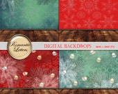 Christmas Digital Backdrop for Newborn Baby Photography Digital Christmas backdrop prop digital scrapbook background paper red green