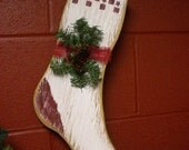 Wood Stocking, Christmas Stocking, Wall Decor, Primitive Country Accent, Winter Holiday Hanger