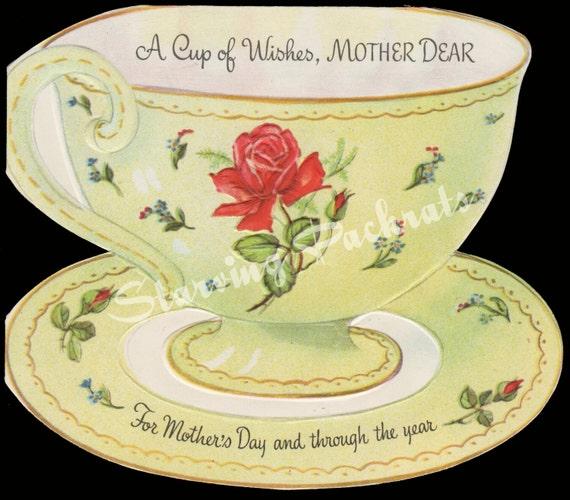 Vintage Wedding Card Unused Greeting Card 1960s 1950s: Vintage 1950s Unused Mothers Day Greeting Card Teacup Roses