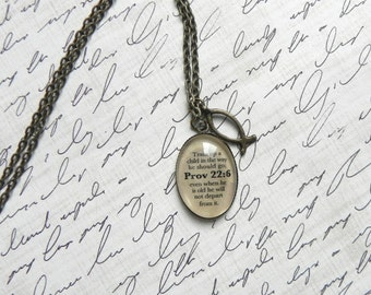 Proverbs 22:6 Bible Verse Necklace
