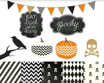 Halloween Chic Digital Clipart and Papers Set - 12 Pieces for Personal & Commercial Use - INSTANT DOWNLOAD