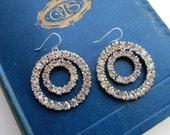 Rhinestone Circle Earrings Upcycled Vintage Double Hoop Rhinestone