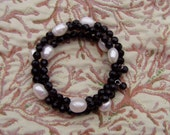 12 D SALE Freshwater Baroque Pearls and Black Crystal Braclet