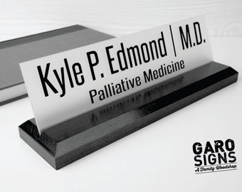 Office Accessories: Wood and Acrylic Desk Name Plate makes a great Teacher or Employee Gift 10 x 2.5