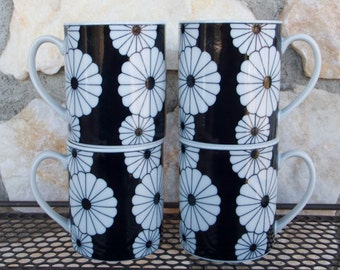 Vintage Mod Black and White Flower Coffee Mugs