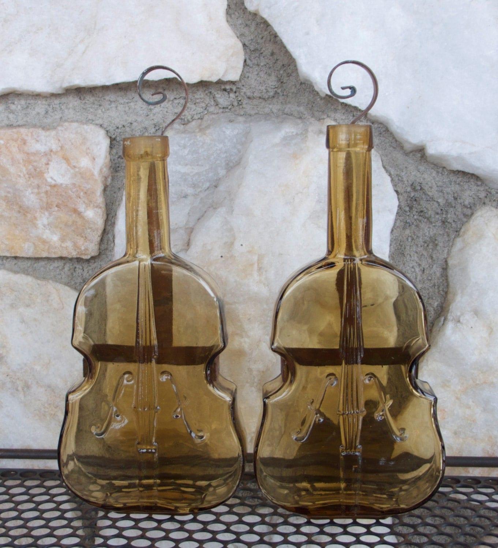Vintage Glass Violin Flower Bud Vases Wall Hangings By