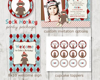 Sock Monkey Birthday Party Package - Sock Monkey Birthday - Sock Monkey Party - Printable Sock Monkey Party - Monkey Birthday - Sock Monkey