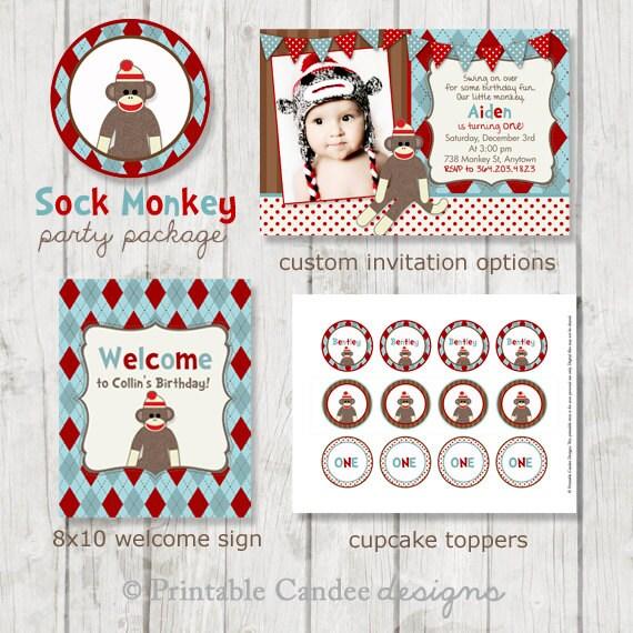 Sock Monkey Birthday Party Package - Sock Monkey Birthday - Sock Monkey Party - Printable Sock Monkey Party - Monkey Birthday - Sock Monkey