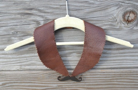 Mustache Peter Pan Collar Necklace -  Peter Pan Collar Necklace - Leather - SALE