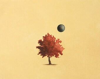 Art Print. Orange Tree Blue Moon. The Honey Tree