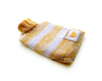 Yellow and White Knit Hot-water Bottle Cover