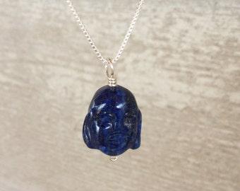 Lapis Lazuli Buddha Gemstone Pendant - ZEN Necklace Serenity and Peace