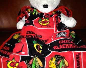 Chicago Blackhawks Hockey Block Fleece Sports Baby Blanket