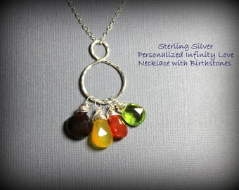 Personalized Family Birthstone Infinity Circle of Love Sterling Silver Necklace - Three Briolette Gems