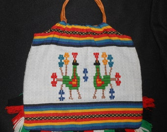 Vintage Hand Woven Mexican/South American Purse Wooden Handle