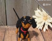 Black & Tan Dachshund Puppy, Needle felted Dachshund, Dachshund Puppy, Dachshund gifts,Dachshund Art, Doxie