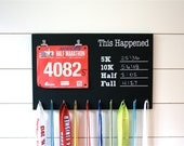 Chalkboard Race Bib and Medal Holder- This Happened - 5K, 10K, Half, & Full