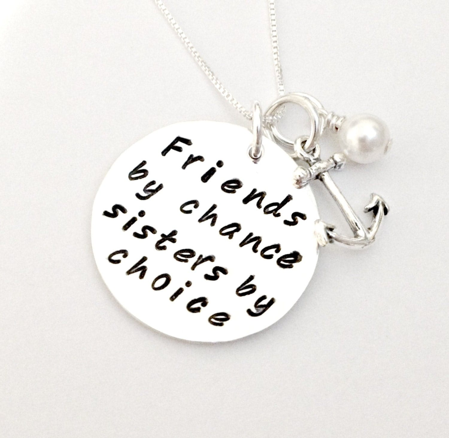 Friendship Quotes Jewelry: Friends By Chance Sisters By Choice Personalized Hand