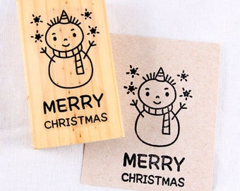 25 OFF SALE Big Stamp-Merry Christmas stamp -Snowman-