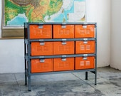 3 x 3 Reclaimed Locker Basket Unit with Tangerine Finish Drawers and Natural Steel Frame