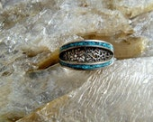 Sterling Silver and Turquoise Mosaic Inlay Ring, Central Design with Lacy Cut Out Pattern in Silver, Signed