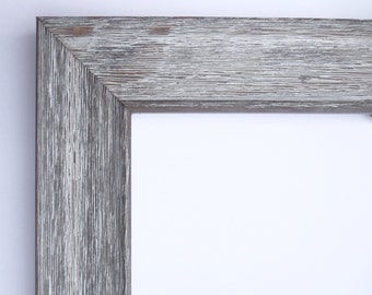 "Custom Frame for Any Size Artwork, Rustic Wood, White Wash, 1 5/8"" Wide"