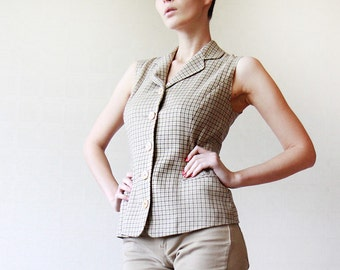 IRENE VAN RYB Brown beige checkered wool fitted sleeveless vest top