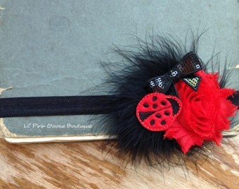 LADYBUG HEADBAND, Baby Ladybug Birthday, Ladybug Birthday, Black and Red Headband, Ladybug Party, Headbands for Baby, 1st Birthday Headband