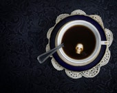 As Bitter As Death - Free US Shipping - Black Tea Photo Print - Skull Sugar Cube - Blue White Black - Food Still Life - Kitchen - Photo