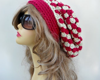 Pink Slouchy Hat Crochet Slouch Hat Womens Crochet Beanie Slouchy Beanie Womens Accessories Hair Accessories Winter Ladies Hat Checker Hat