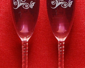 Personalized  Butterfly  wedding toasting flute glasses, Name & Date added FREE