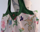 Large floral tote bag / diaper bag made with vintage floral, bird and butterfly fabric