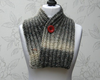 Knit Button Scarf, Rib Knit Cowl,, Ribbed Cowl, Adjustable Neck Warmer, Adjustable Winter Cowl Scarf