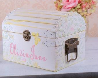 Girls Personalized Keepsake Box, Memory Box,  Yellow, Pink, SMT