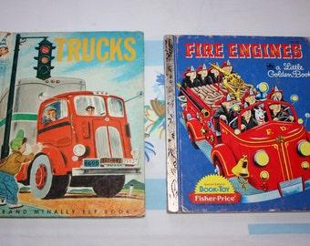 2 Children's books- Fire Engines and Trucks