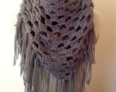 Crochet PATTERN - Triangle Fringe Scarf