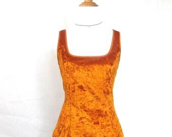 90s Orange Crushed Velvet top
