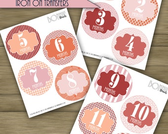 PRINTABLE DIY Monthly Baby Stickers or Iron On Transfers //  Baby Milestone // Baby Girl // Pink, Coral, Orange // 12 unique patterns