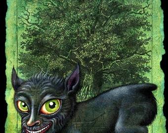 Dog monster art print, Penghou: Chinese tree spirit, Japanese dog creature, Hōkō yokai, Oddity curiosity, Asian mythology, Halloween dog
