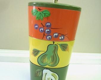 Vintage Lacquer Nesting Bowls Snack Set, Handpainted Fruit 1960s