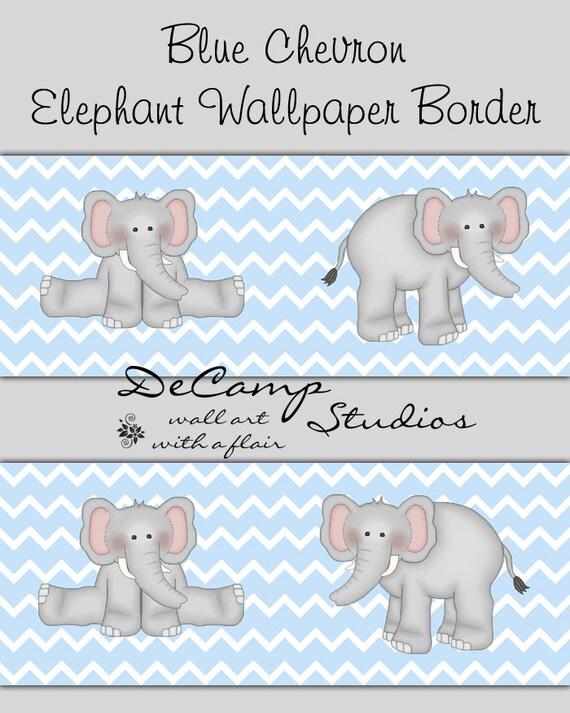 Nursery wallpaper house : Baby blue and gray chevron borders