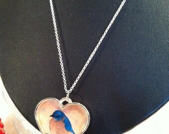 Silver Heart Bluebird Art Necklace