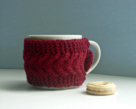 Knitting Pattern For One Cup Tea Cosy : Items similar to Tea Cup Cozy - Knit Mug Cosy - Red Coffee Cup Sweater on Etsy